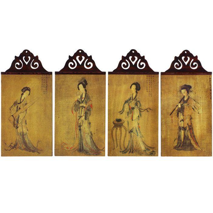 Celestial Music 4 Piece Painting Print Set | Oriental furniture ...