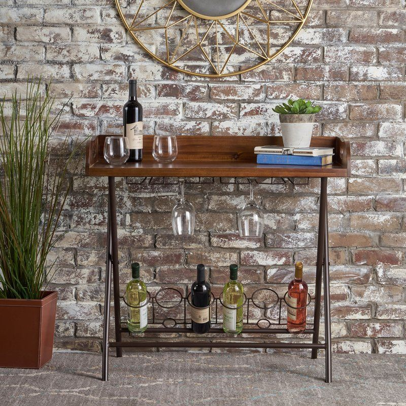 Caban 6 Bottle Floor Wine Bottle Rack Acacia Wood Living Room Accent Tables Bar Tray