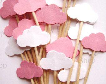 24 découpées de bébé fille rose & White Cloud Party pics - Cupcake Toppers - cure-dents - nourriture médiators - punch FP458