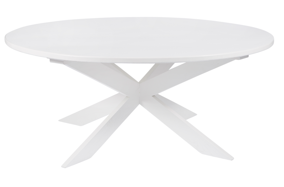 This beautiful white wood dining table is a stunning modern addition to your kitchen nook.