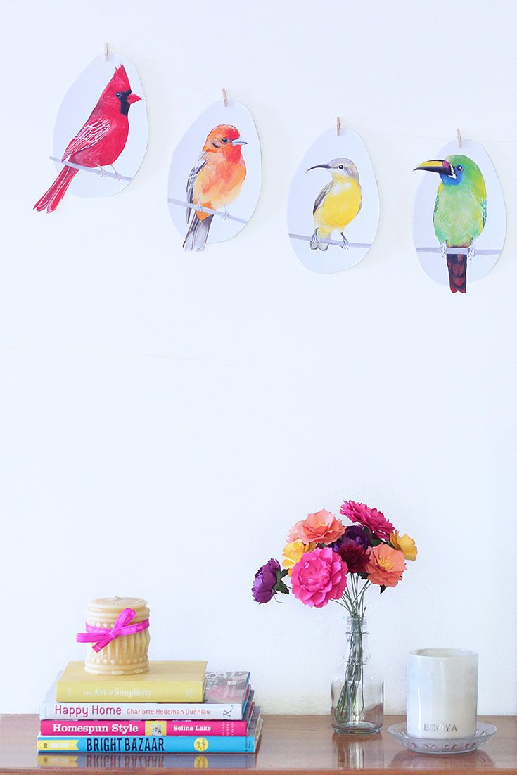 Diy bunting printable bird garland diy bird wall decor