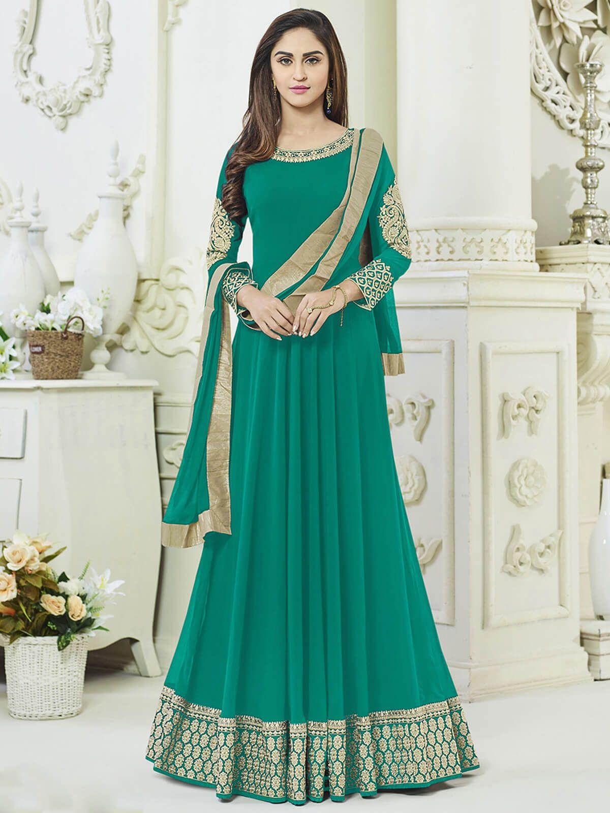 Stunning turquoise georgette festival wear anarkali suit. Having ...