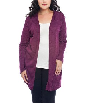 Love this Purple Sheer Cutout Open Cardigan - Plus by Hug Plus on #zulily! #zulilyfinds