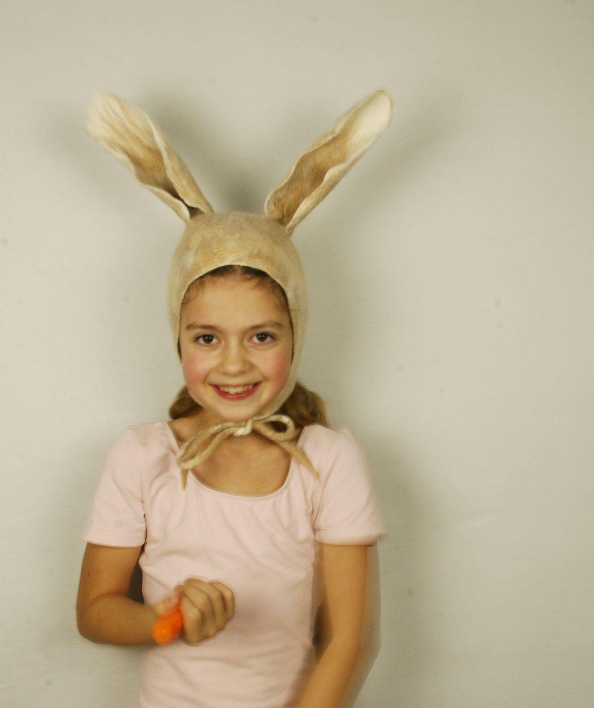 Rabbit Ears felted Hat in beige - Handmade wool bunny hat - Rabbit ears hat - Bunny costume hat - Costume party fancy ball Carnival hat by FeltStream on ...  sc 1 st  Pinterest & Bunny felted Hat - Bunny Earflap - Ivory White light fawn - Bunny ...