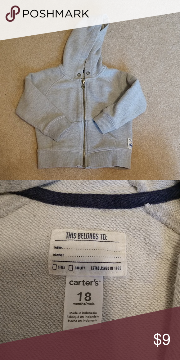 3ea43b145 Toddler Boy Zip-up Sweatshirt Size 18 months Basic gray, goes with  everything! Great condition! Carter's Shirts & Tops Sweatshirts & Hoodies