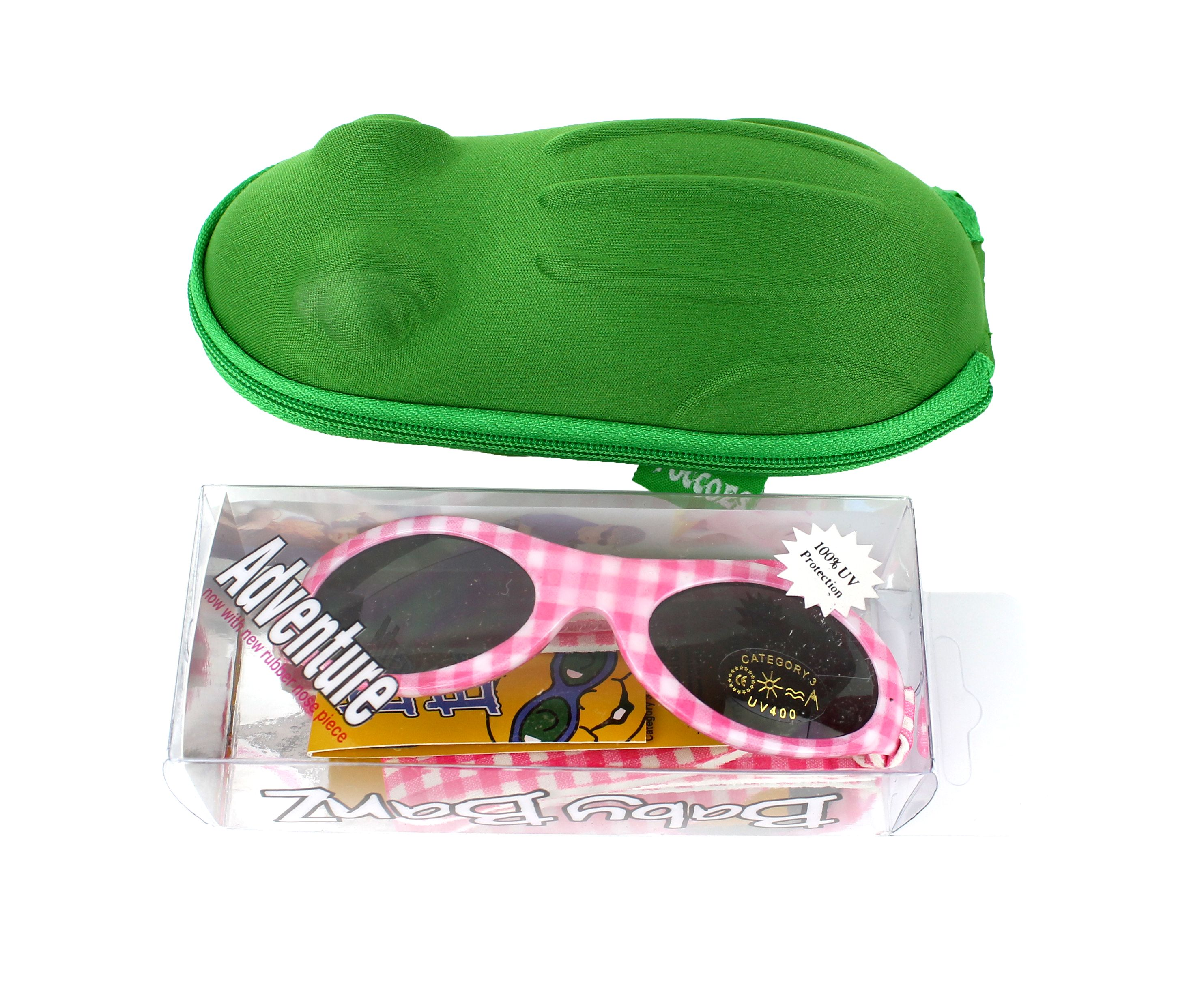 0578f56e1f45 Gift pack  Baby Banz Pink Check wraparound sunglasses 0-2 years with case