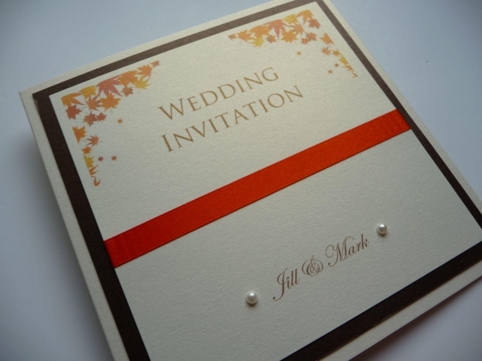 Brown & Orange Falling Leaves theme Wedding invitation .. autumn ...