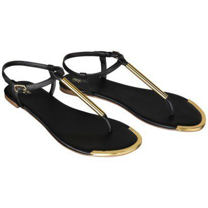 Mossimo Falk thong black and gold sandal