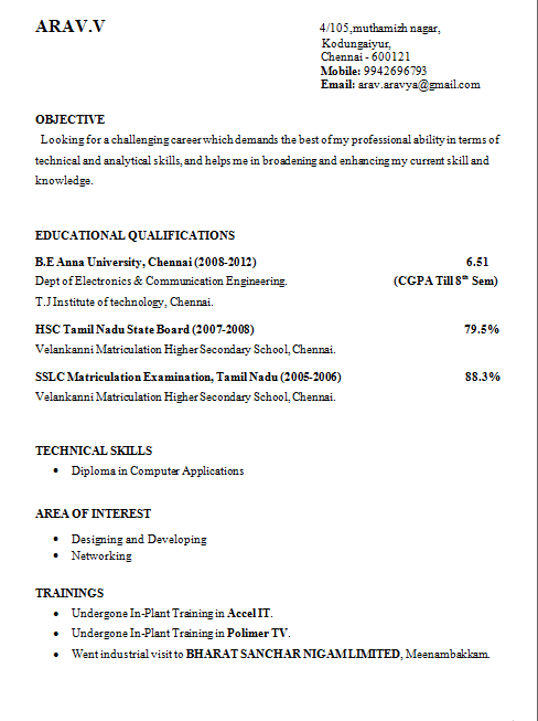sample resume for hsc students