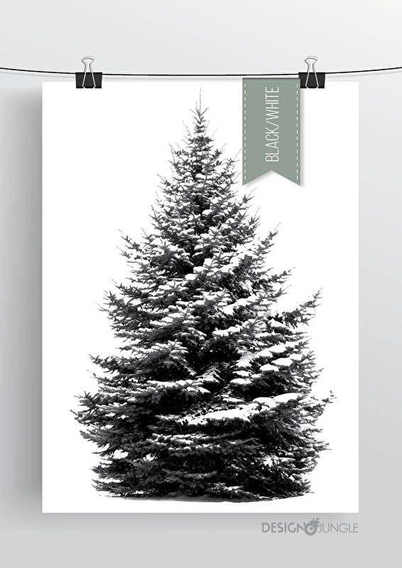 dennenboom poster zwart wit kerstposter kerstvakantie