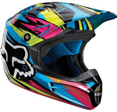 fox racing v1 undertow helmet green blue pink 2012. Black Bedroom Furniture Sets. Home Design Ideas