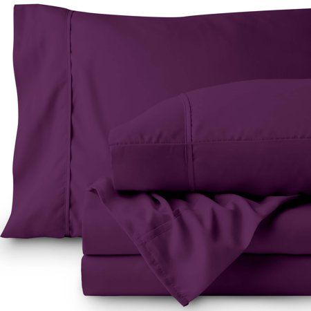 Premium 1800 Ultra Soft Microfiber Sheet Set Twin Extra Long Double Brushed Hypoallergenic Wrinkle Resistant Xl Plum Purple