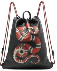8d910cb140a0 Gucci - Merveilles Printed Textured-leather Backpack - Lyst