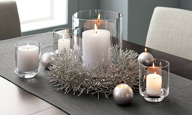 Candle Centerpiece Ideas | Crate and Barrel | Glass hurricane candle  holder, Christmas table decorations, Hurricane candles