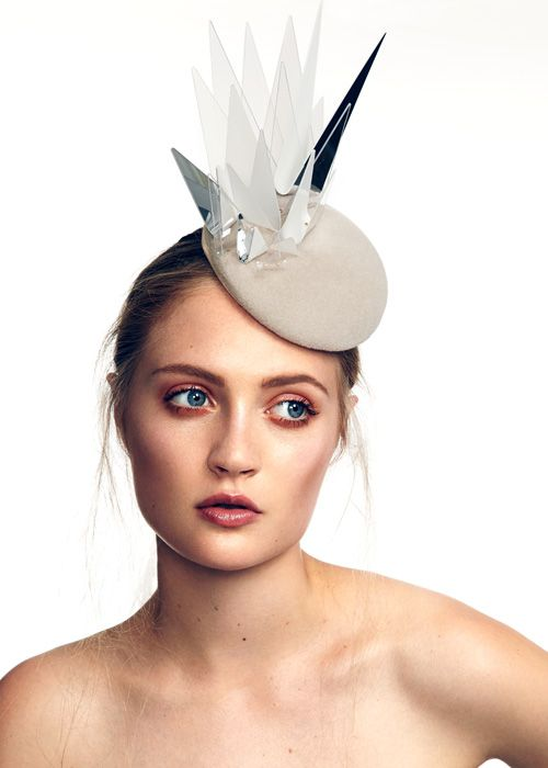 Multi Point Beret | Label: Keely Hunter Millinery | Spring/Summer 2014, Curvature Linear Collection | Exploring an organic, fresh aesthetic, this collection is a distinctive design statement that combines the elegance of softer shapes with the strong lines of sculpture and architectural structures