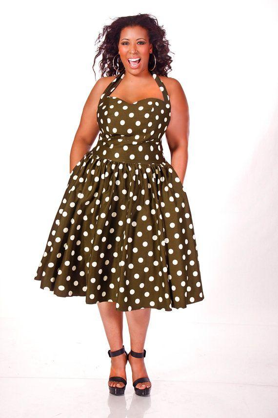 JIBRI Plus Size Polka Dot Halter Dress by jibrionline on Etsy ...