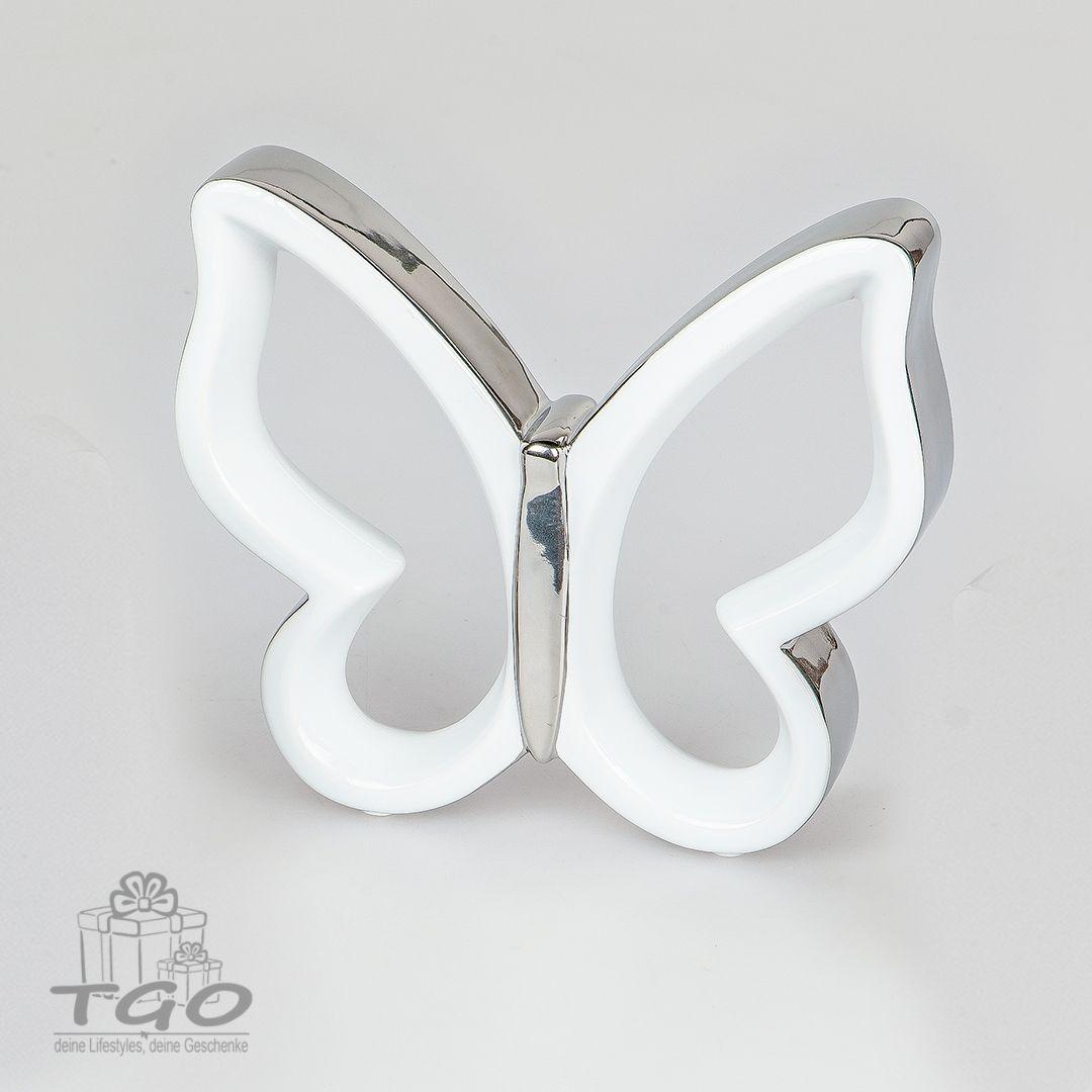 Deko-Objekt weiss-silber aus Keramik 21cm