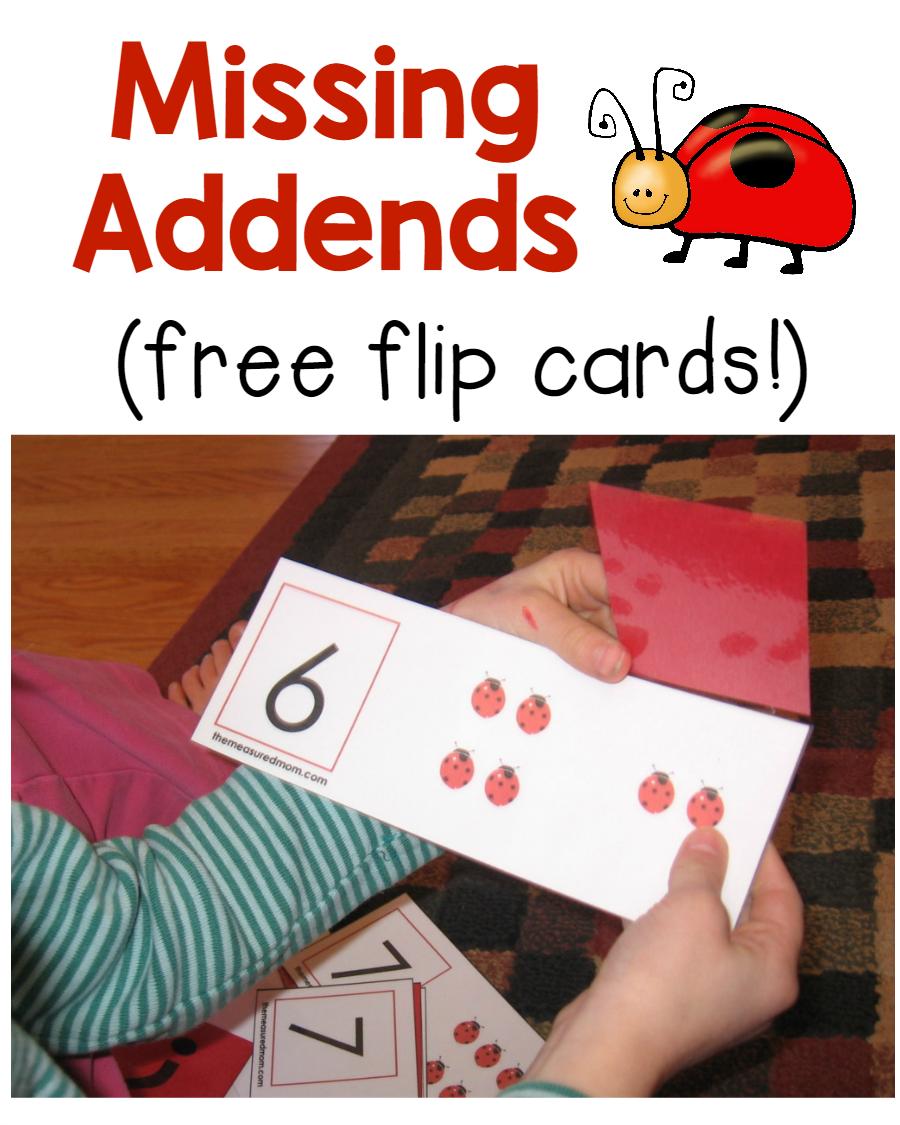 worksheet Addend missing addend activity ladybug flip cards flipping heres a printable download 45 free cards