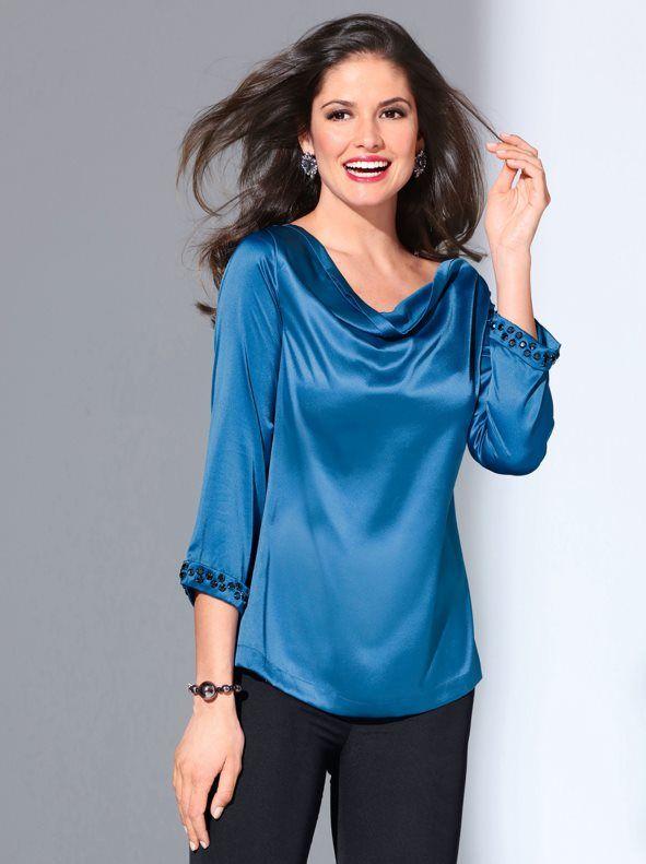 05f6a43c36a Blusa de fiesta mujer de manga 3 4 con pedrería de fantasía Blusas Para  Fiestas