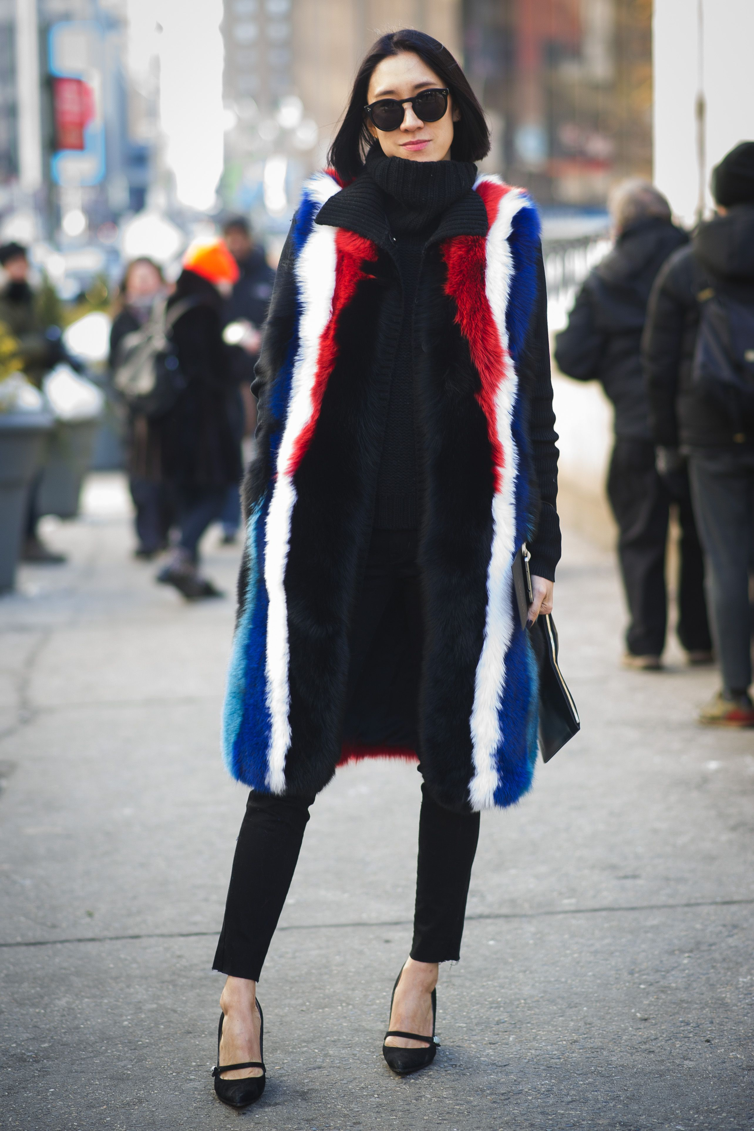 fbdae263074 Eva Chen goes patriotic in a Rebecca Minkoff fur vest