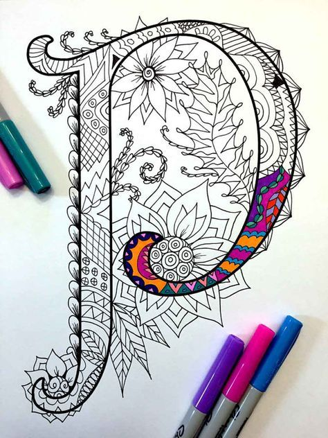 Letter P Zentangle Inspired By The Font Etsy Zentangle Art Zentangle Patterns Alphabet Art