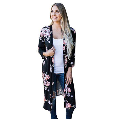 c8a46e8f7055 Longra Grande Taille Kimono Long Femme Fille Bohême Imprimé Manches Longues  Cardigan Femme Élégant Cardigan Femme Chemisier Long Mi Saison Femme Veste  ...