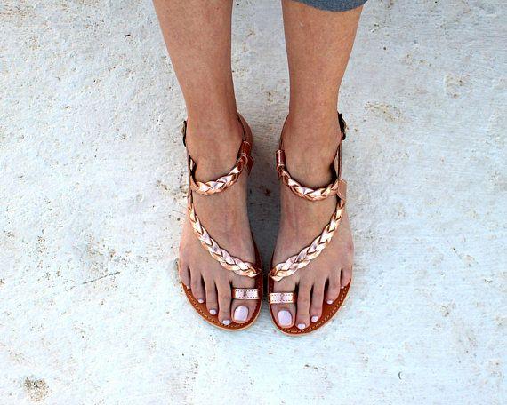 67617cdafb55 gold pink sandals greek handmade flat sandals strappy sandals wedding  sandals gladietor sandals handmade braided toe ring sandals