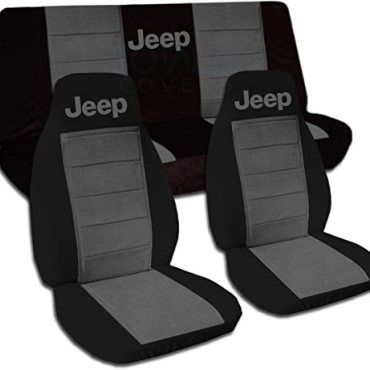 Jeep Wrangler TJ 1997 To 2006 Two Tone Seat Covers With Jeep Black And Charcoal Full Set 21 Colors Available 0  | TJ Jeep Wrangler Mods 1997 2006 | Pinterest ...