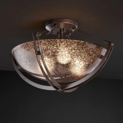 Fusion Crossbar Crossbarthree Light Brushed Nickel Semi Flush Bowl With Crossbar In Brushed Nickel Products Lighting Flush Mount Ceiling Fan Mercury