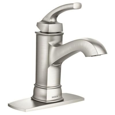 MOEN Hensley Single Hole 1 Handle Bathroom Faucet Featuring Microban  Protection In Spot Resist Brushed