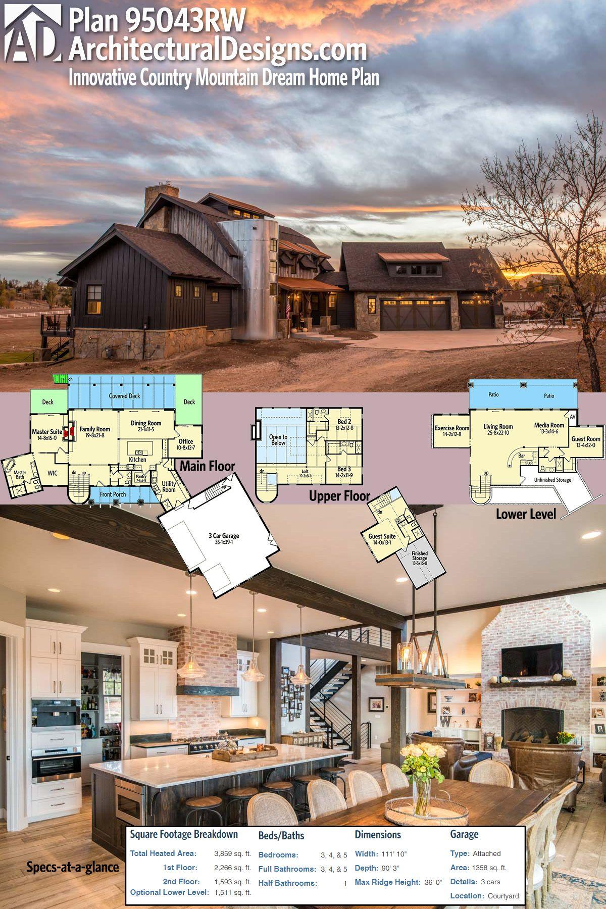 3 bedroom loft house  Plan RW Innovative Country Mountain Dream Home Plan