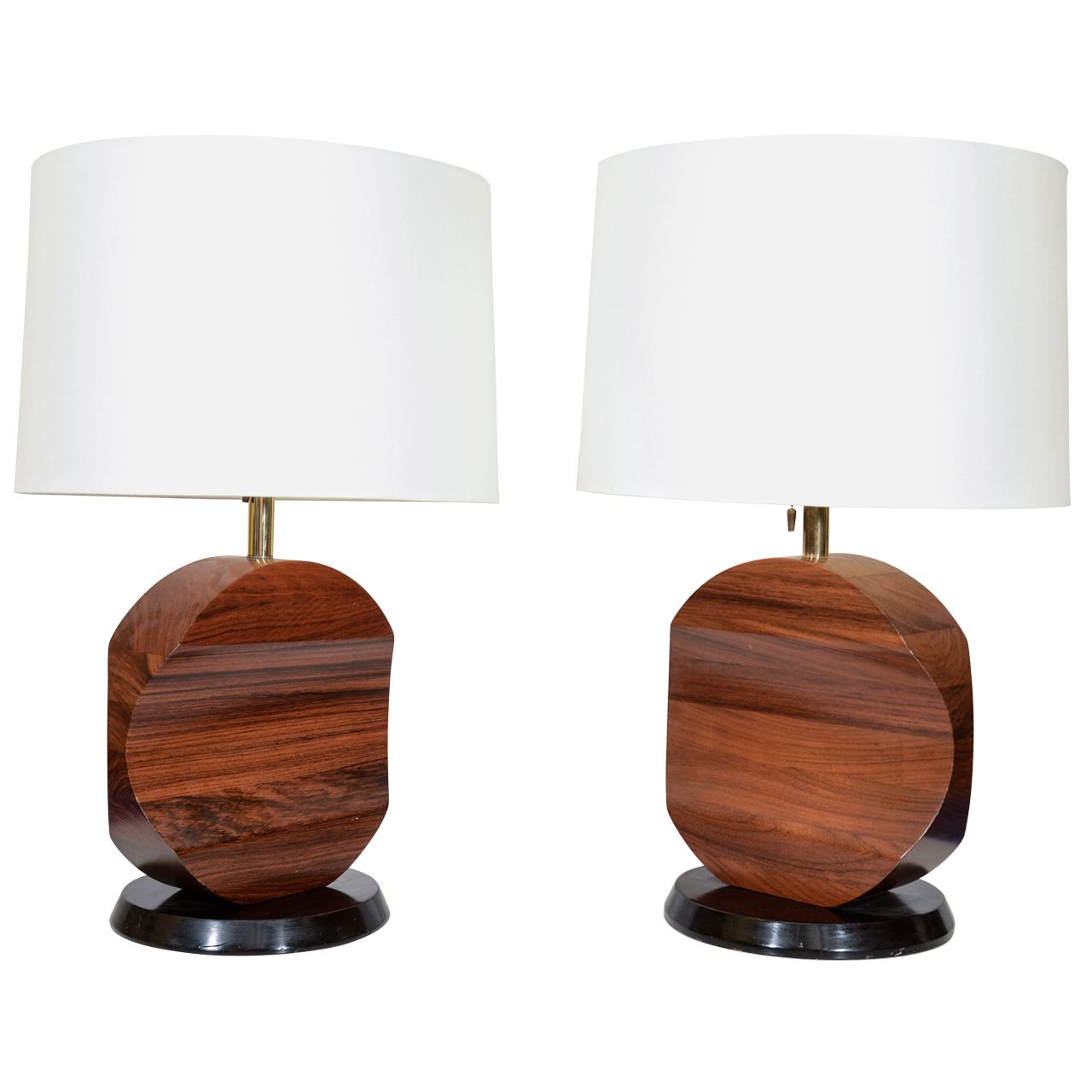 Sculptural Rosewood Lamps. Modern Table ...