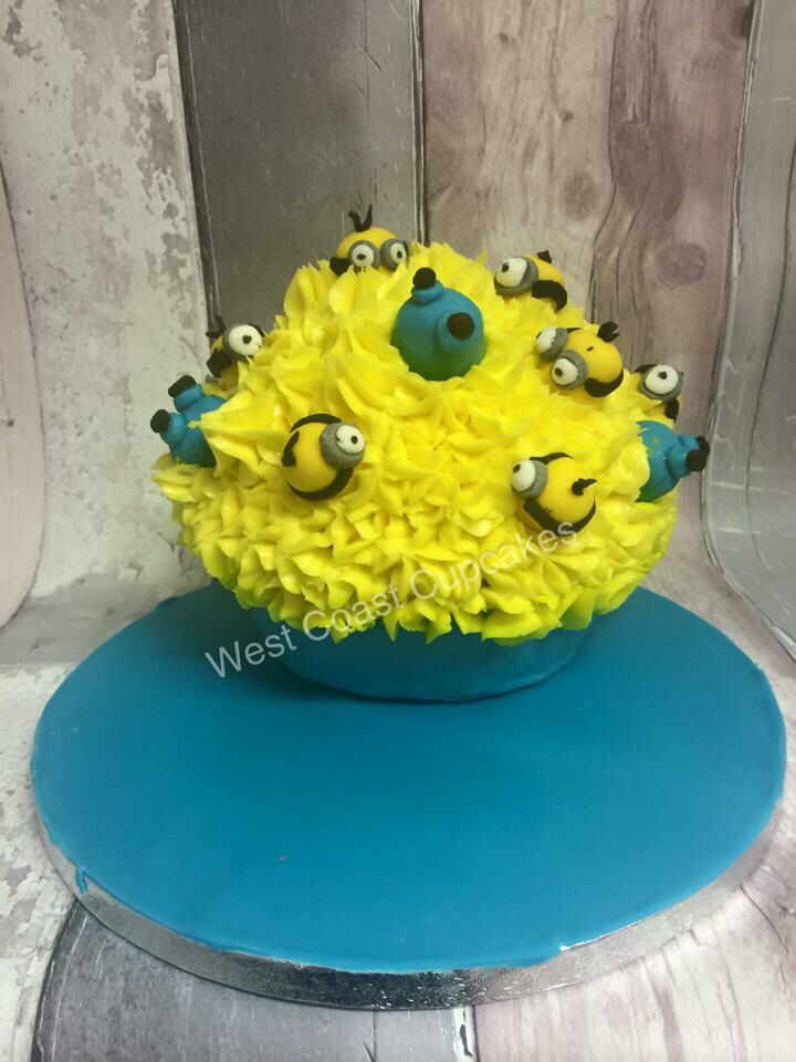Minion giant cupcake   www.facebook.com/westcoastcupcakes   Please do not copy my designs without permission  Thank you