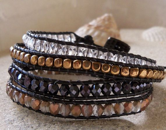 Wrapped  Beaded Bracelet, Czech Glass Beads, Four Wrap, Bronze, Black, Clear, and Gold