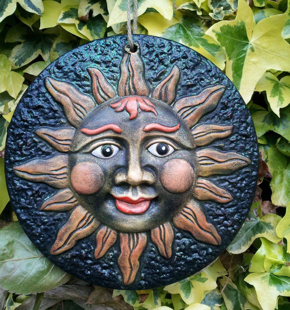 Garden wall plaque - Sun Face Garden Plaque Plate Ornament Hand Painted Garden Wall Hanging Pagan