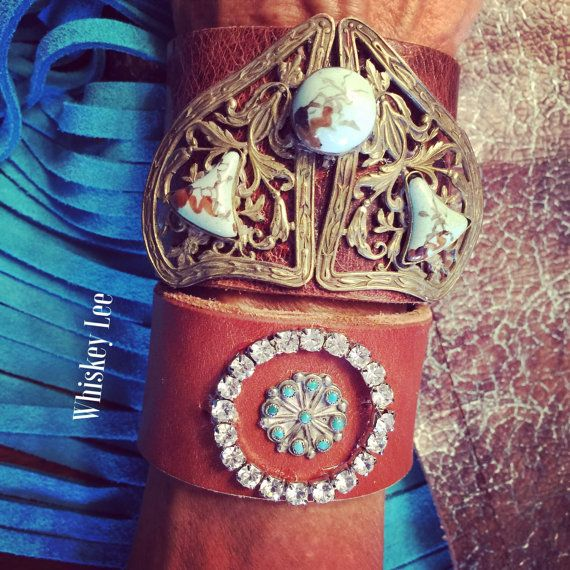 OOAK bling ring crystal turquoise  Native by WhiskeyLeeDesigns