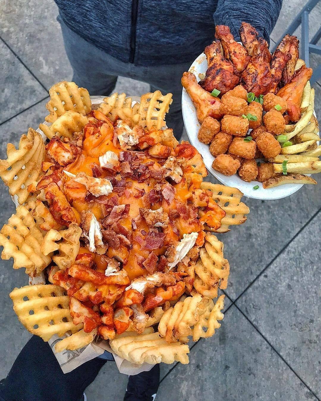 Buffalo Fries and Buffalo Wings Crispy Chicken Strips Waffle