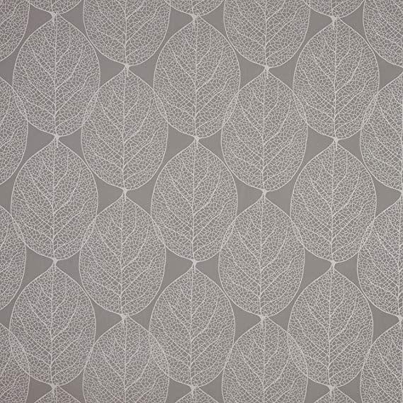 Grey Large Leaf Pvc Vinyl Oilcloth Wipe Clean Tablecloth