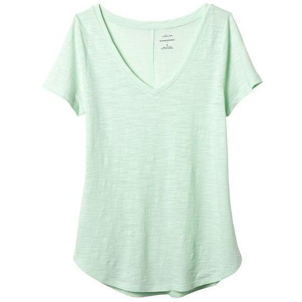 4077a7ed Banana Republic Women Factory Malibu V Neck Tee ($35) ❤ liked on Polyvore  featuring tops, t-shirts, green t shirt, short sleeve v-neck tee, short  sleeve t ...