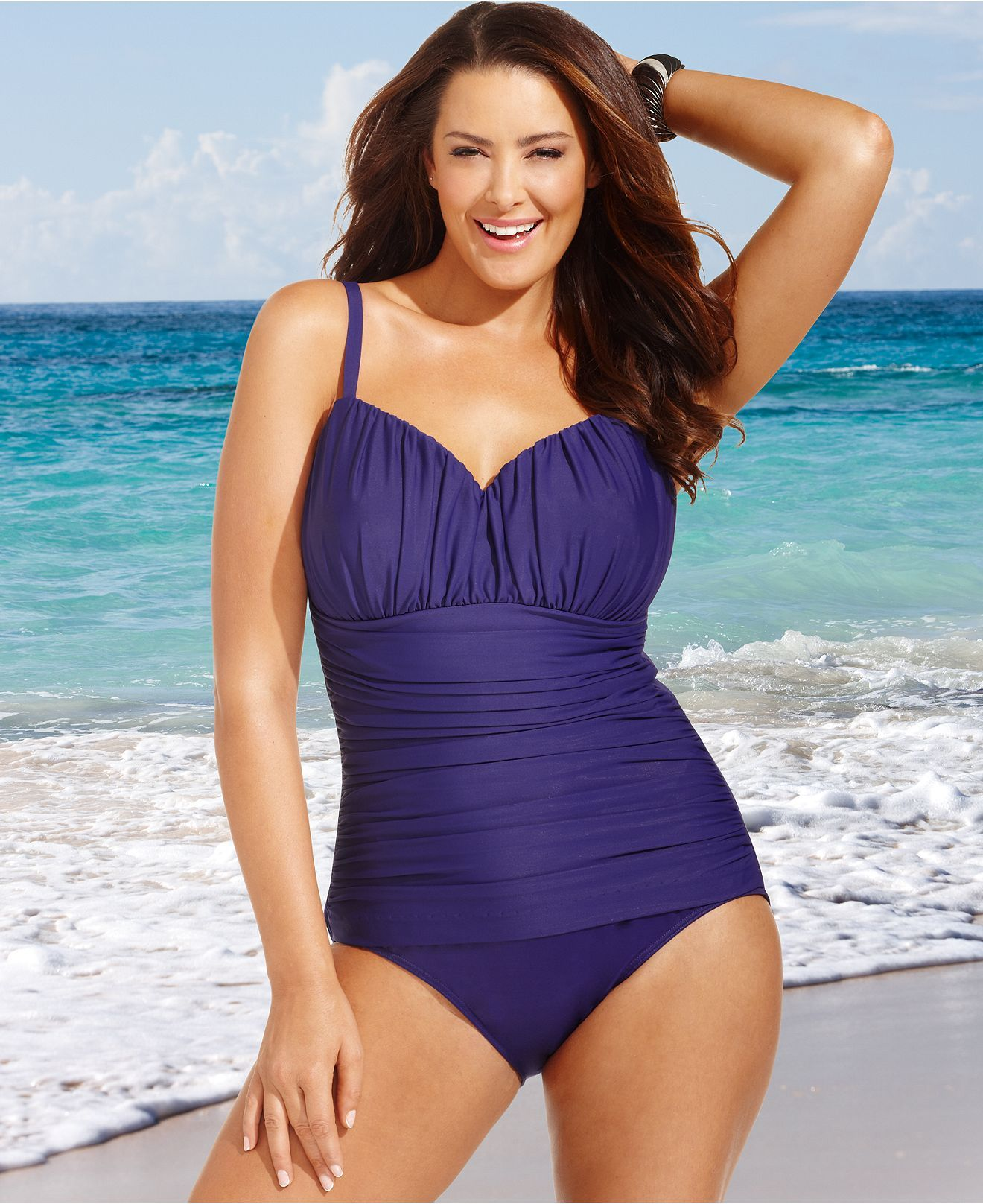 $45 miraclesuit plus size swimsuit, rialto ruched one-piece - plus