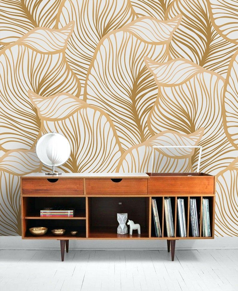 Leaf Wallpaper Print Painting Home Decor Wall Decal Removable Peel And Stick Wallpaper Wall Decor Sticker Clipart Art Print Boho Retro Wallpaper Walls Decor Leaf Wallpaper Wallpaper