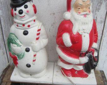 vintage 1950s empire bow mold santa snowman frosty mold hard plastic figurine statue set of 2 - Santa Snowman 2