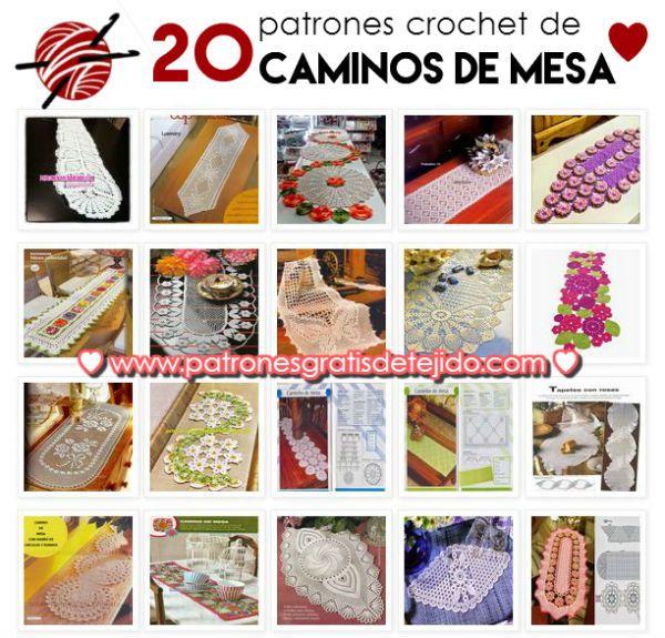 20 esquemas de caminos de mesa para tejer al crochet | Crochet y Dos ...