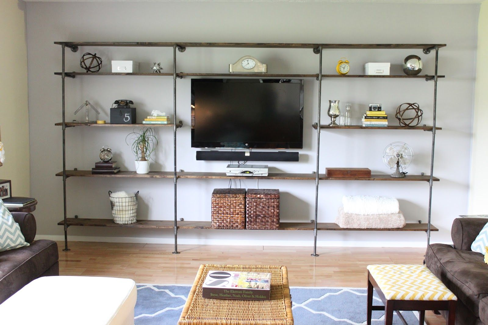 Furniture Attractive Inventive Industrial Pipe Shelving Pictures Wonderful Modern Unit Design Inspiration In The Living Room