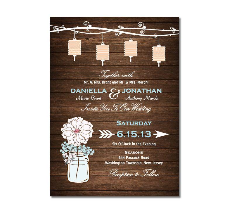 Mason Jar Wedding Invitation or Bridal by TreasuredMomentsCard