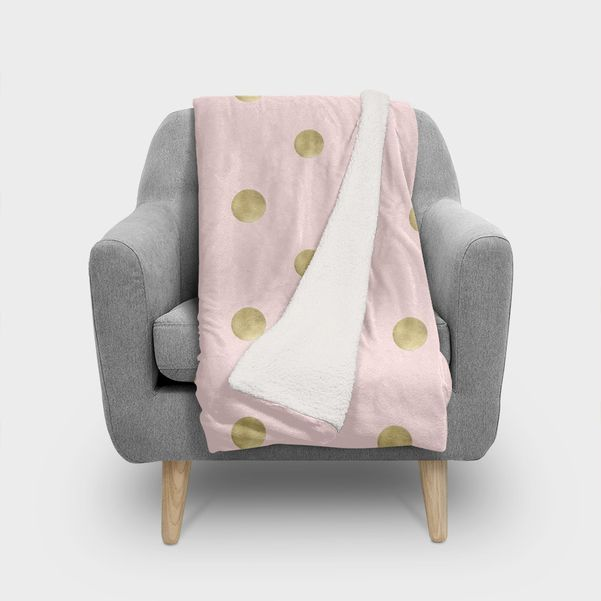 Happy Polka Dots Gold on Blush 1 decor art» Throw Blanket by Anita's & Bella's Art is part of Gold Home Accessories Polka Dots - Happy Polka Dots Gold on Blush 1 decor art»  This numbered edition Throw Blanket, designed by Anita's & Bella's Art, comes with a numbered and signe