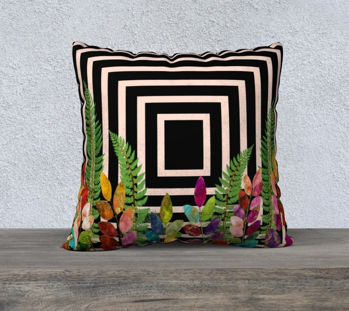 Ferns And Leaves Pillow Cover Geometric Pale Pink And Etsy Leaves Pillow Pillows Accent Throw Pillows