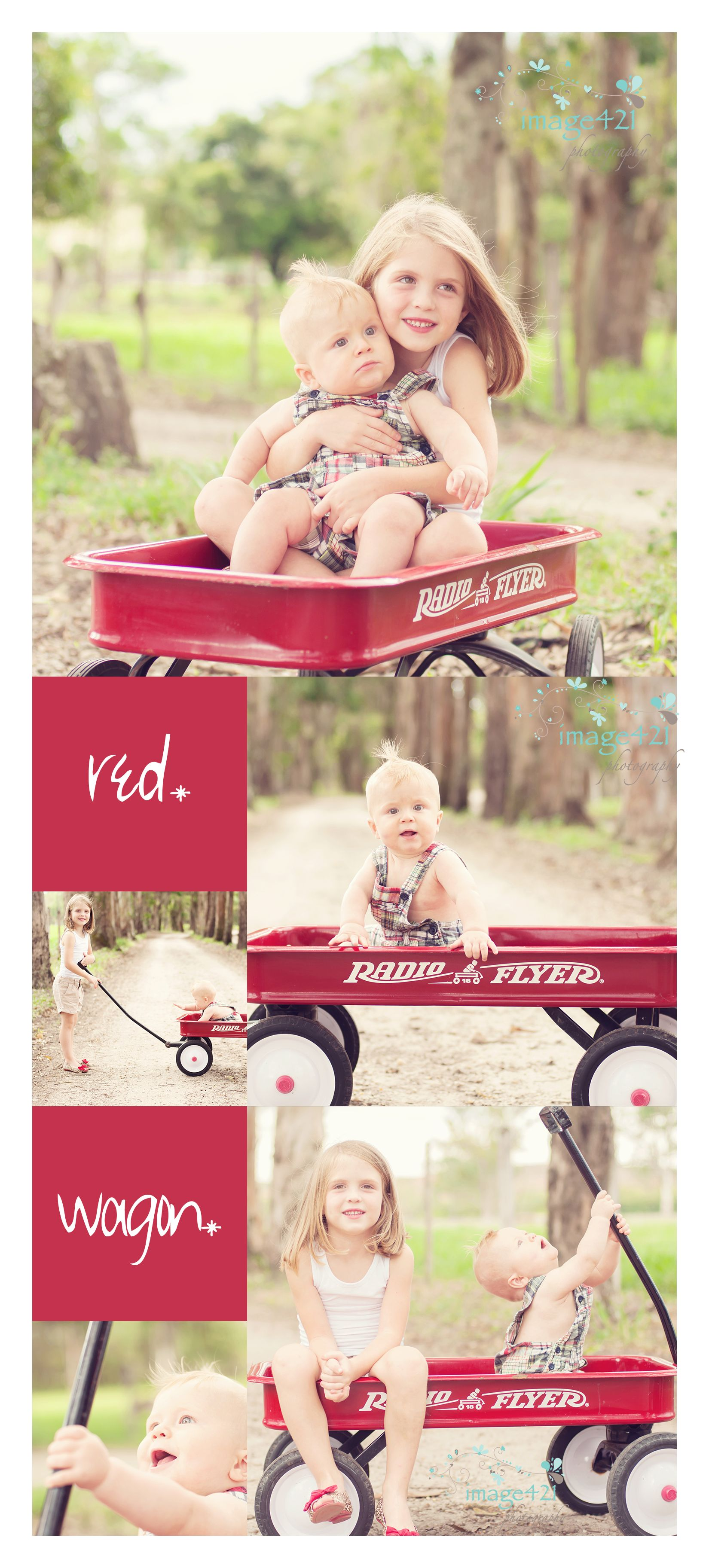 red*wagon*  children's portraits. family portraits. brother and sister in red wagon. radio flyer  wagon.