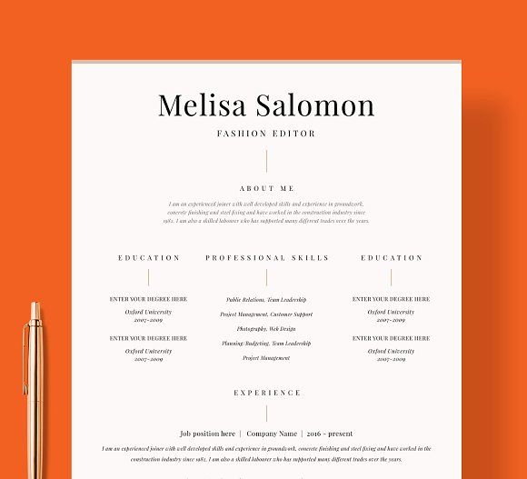 Resume Template 1 page Graphicsauthor Resume CV Templates