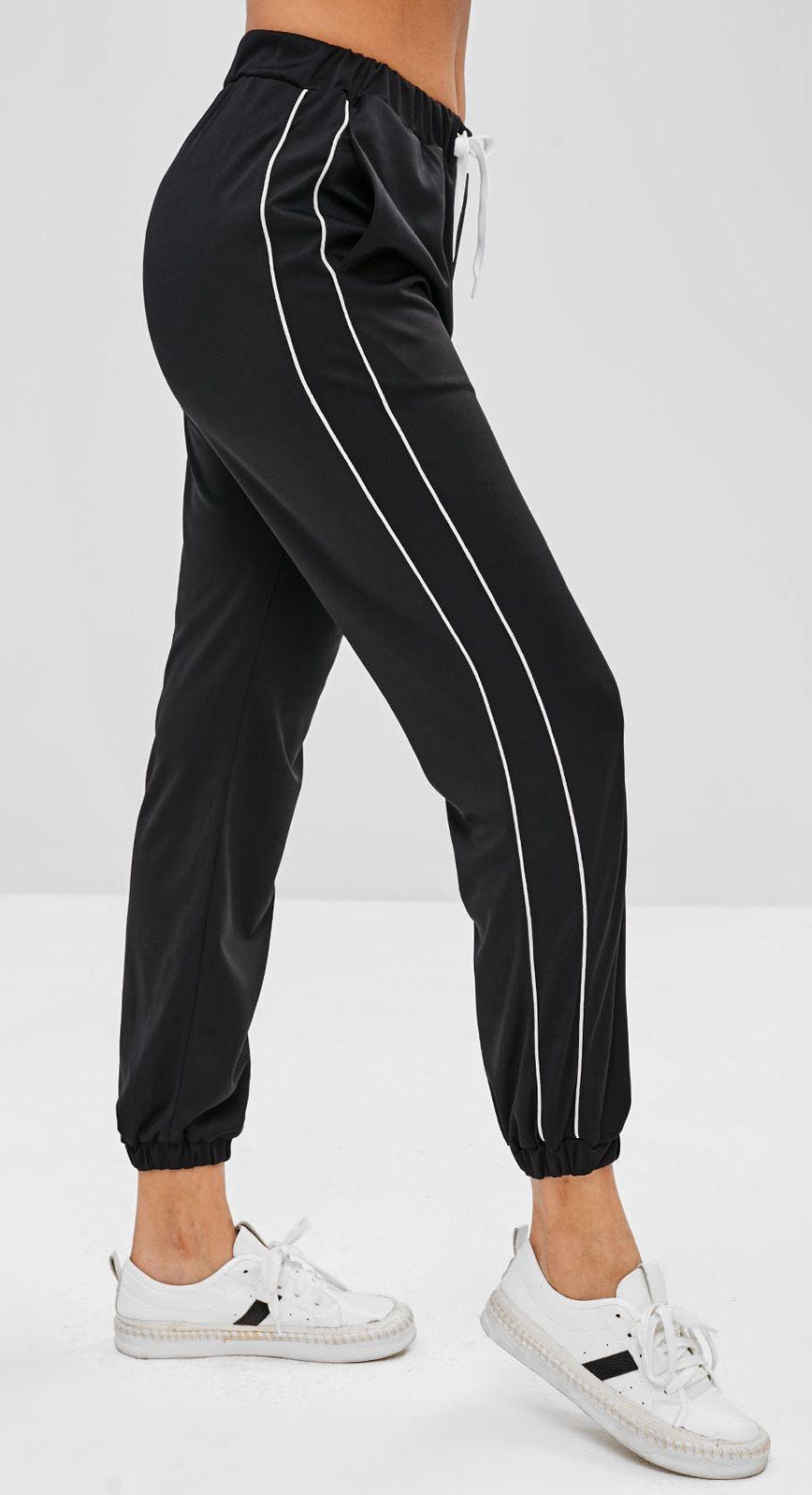 Piping Drawstring Jogger Pants Black Crop Pants Women Pants For Women Cropped Pants Women Women Jogger Pants